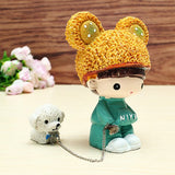 The Rabbit Hat Dog Doll Lovers Resin Handicraft Walk The Dog Doll