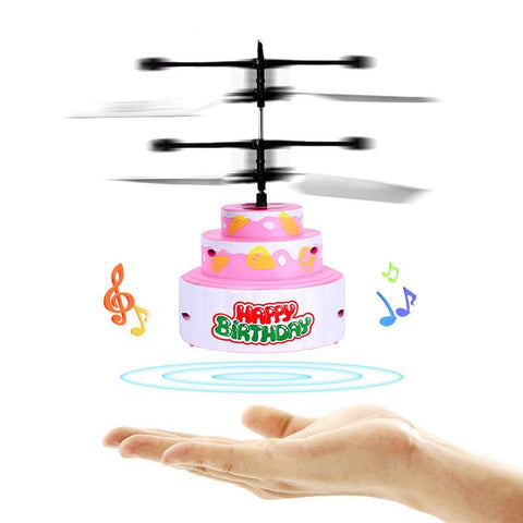 Mini RC Infraed Induction Helicopter Flying Birthday Cake Flashing Light Toys for Kids