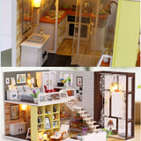 iiecreate K-028 Contracted City DIY Doll House With Furniture Light Cover Gift Toy