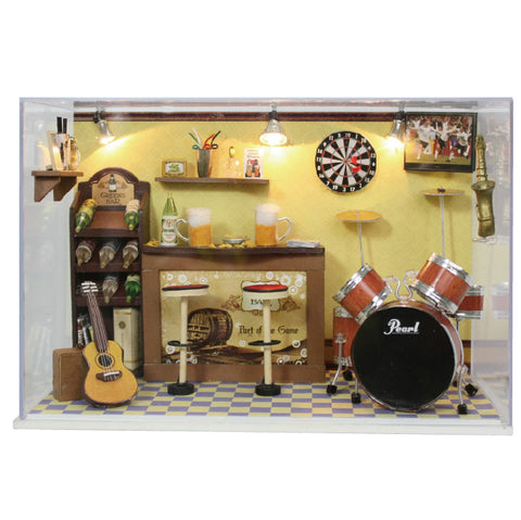 Cuteroom DIY Doll House Handmade Wooden  Miniature Home Decoration  Furniture Bar