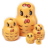 5 layer Cute Animal Nesting Dolls Traditional Wooden Handmade Matryoshka gift