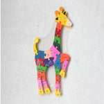 Wooden Giraffe Pattern Puzzle Jigsaw Alphabet Letter Number Blocks Kids Educational Toy