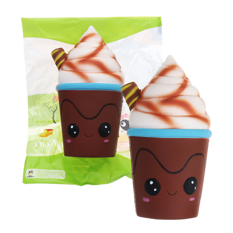 SquishyFun Chocolate Ice Cream Cup Squishy 7.5*15cm Slow Rising Toy With Original Packing