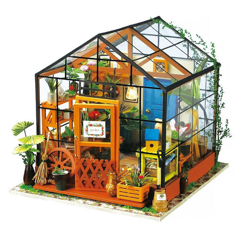 Imagine 3D DIY House Model Kit Greenhouse Miniature LED Light Dolls House Build Toy