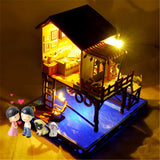 T-Yu C3-Z Summer Sunset Sky DIY Doll House With Cover Music Light Gift Collection Decor Toy