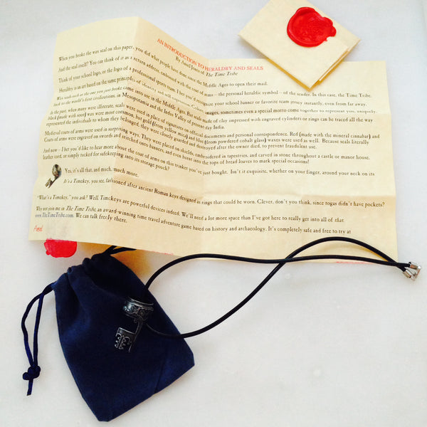 Timekey Pack with Genuine Leather Neck Cord, Storage Pouch, and Heraldry Parchment