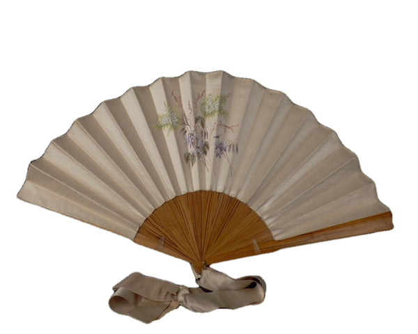 1890s Hand Painted Silk & Wood Fan
