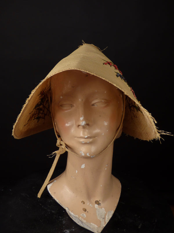 1930s Embroidered Straw Bonnet