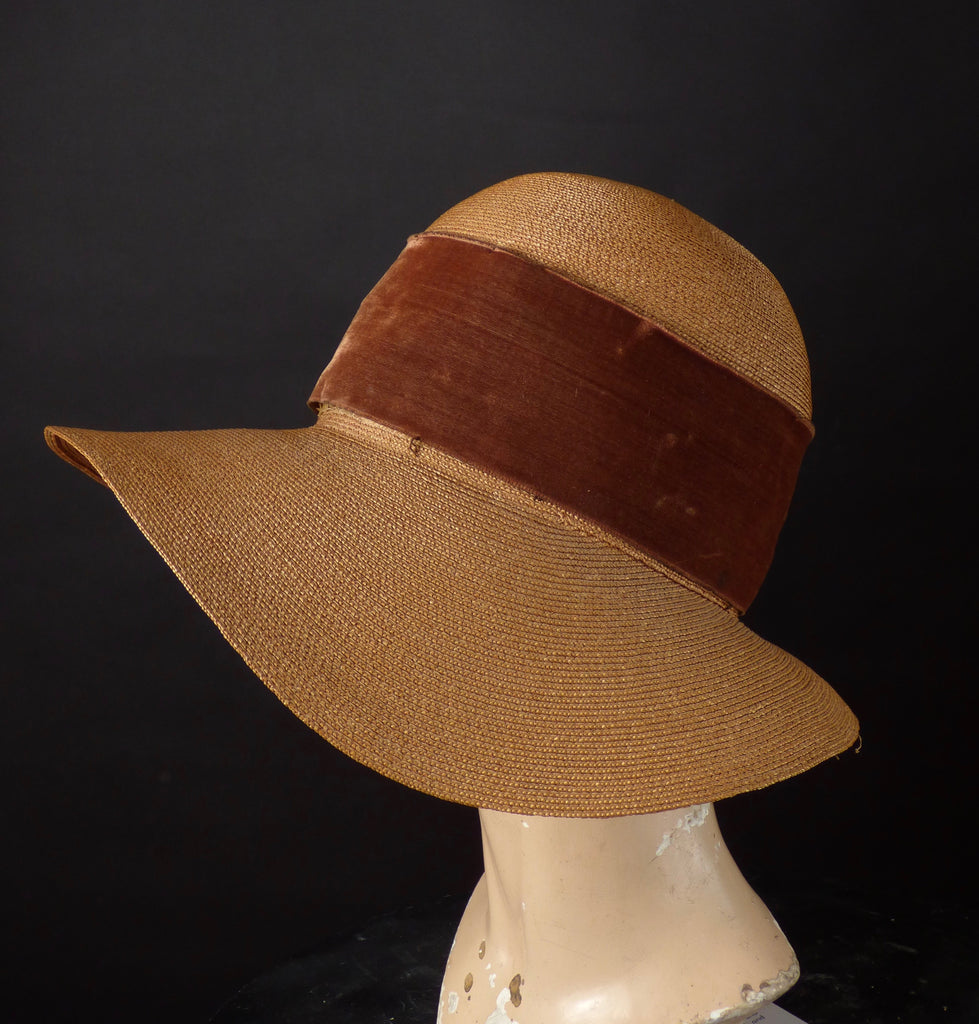 1920s Straw Wide Brim Cloche