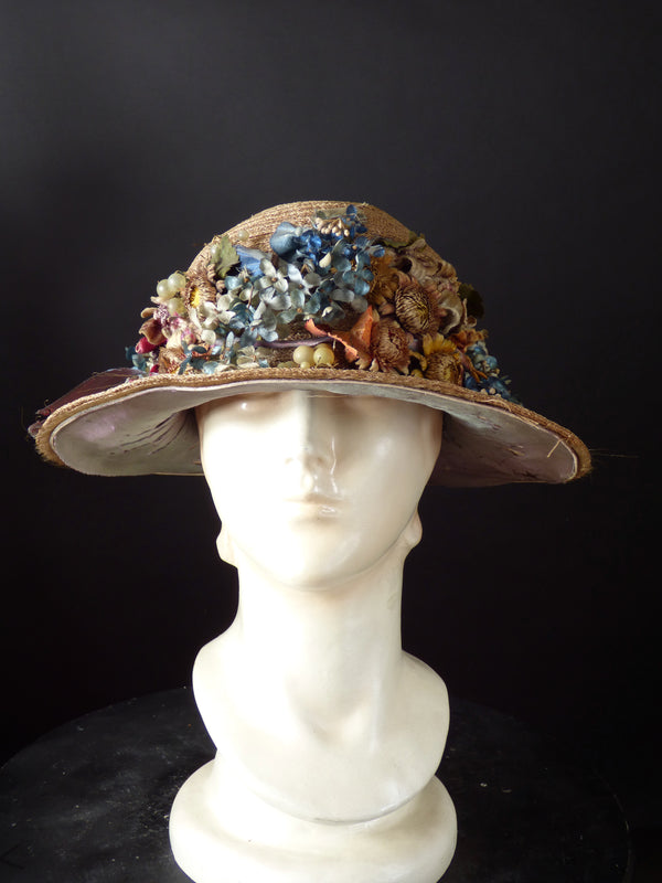 1918 Taupe Straw & Flower Hat