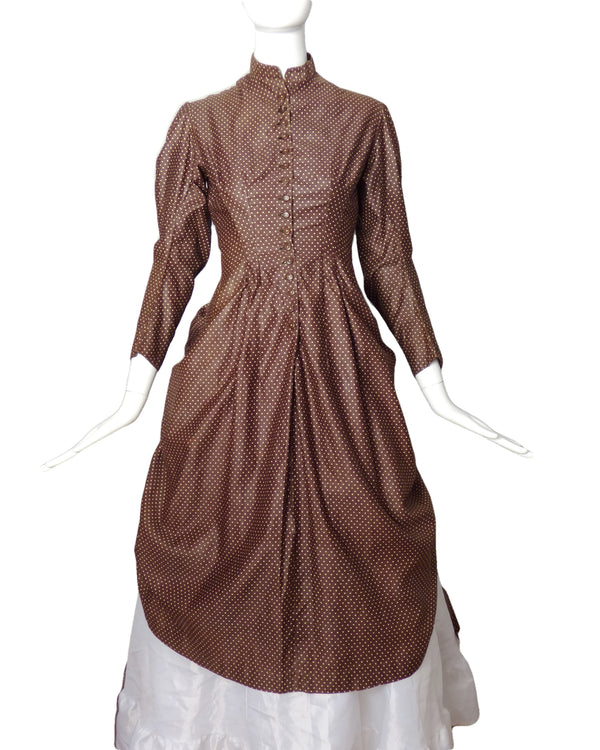 1880s Brown Polka Dot Polonaise, Size-4