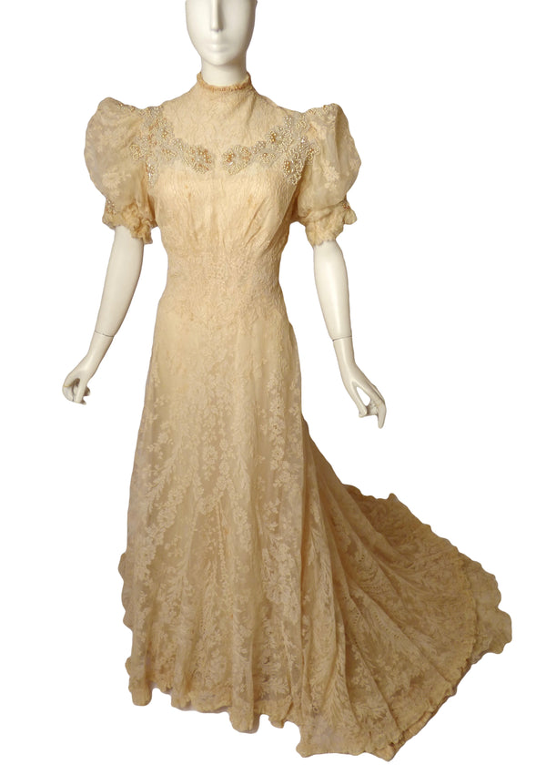 1908 Stunning Ivory Lace Evening Gown, Size-4