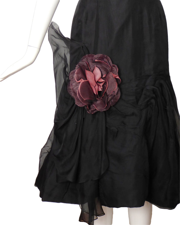 CEIL CHAPMAN-1950s Black Silk Organza Cocktail Dress, Size-2