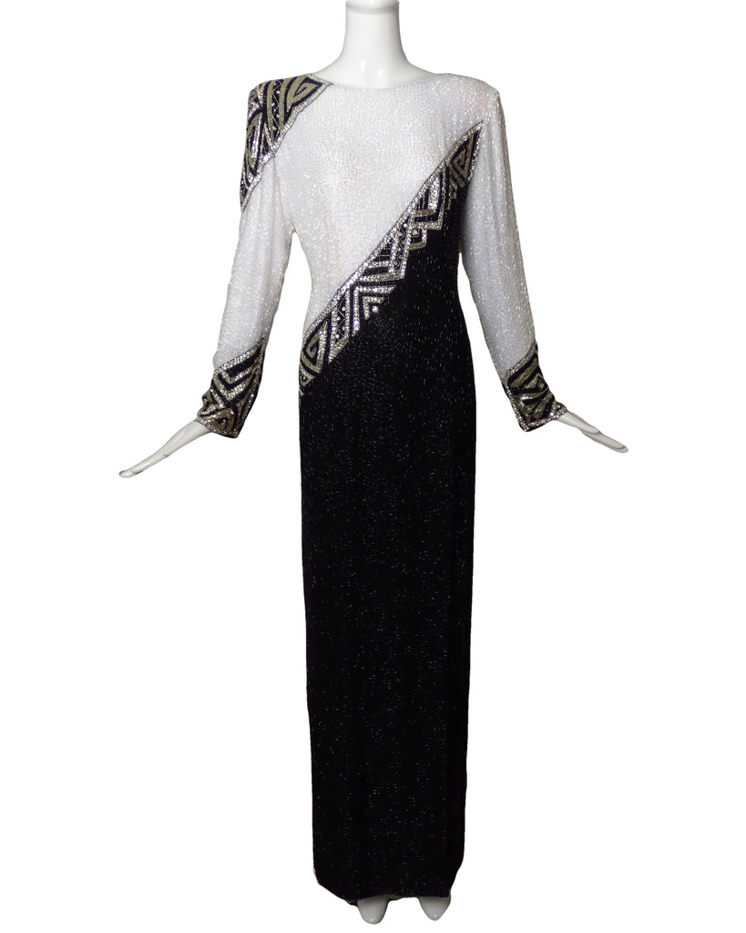 BOB MACKIE-1980s Black & White Beaded Evening Gown, Size-8