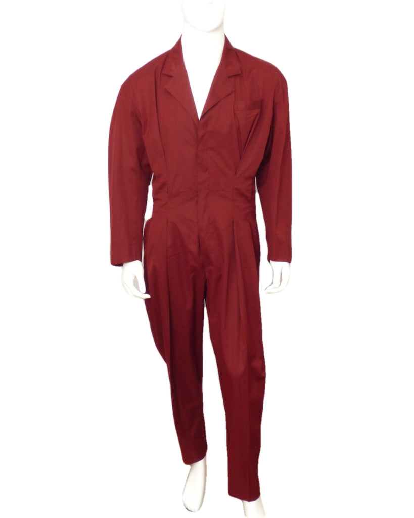 1980s Burgundy Cotton Jumpsuit, Size-Large