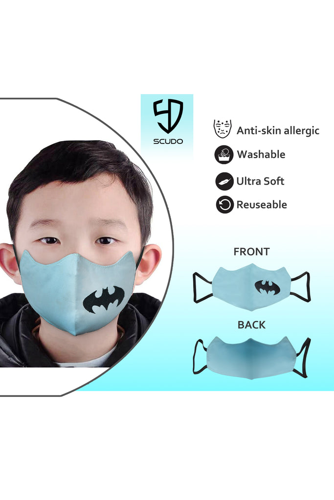 6 PCS OF DOUBLE LAYER BATMAN FACE MASK FOR KID'S (5 PCS + 1 FREE)