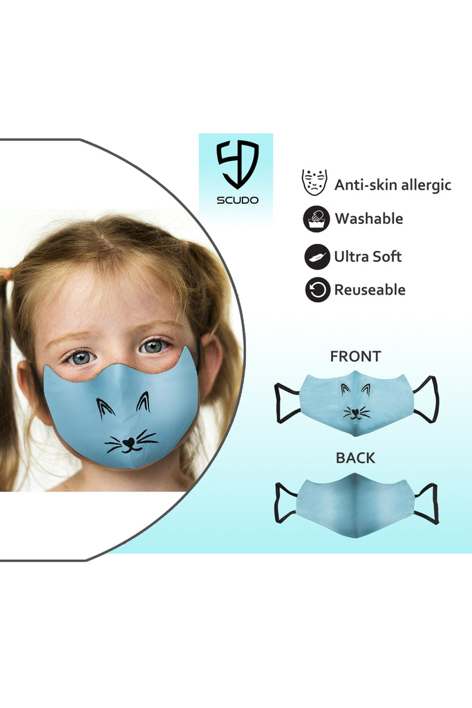1 PCS OF DOUBLE LAYER CAT FACE MASK FOR KID'S