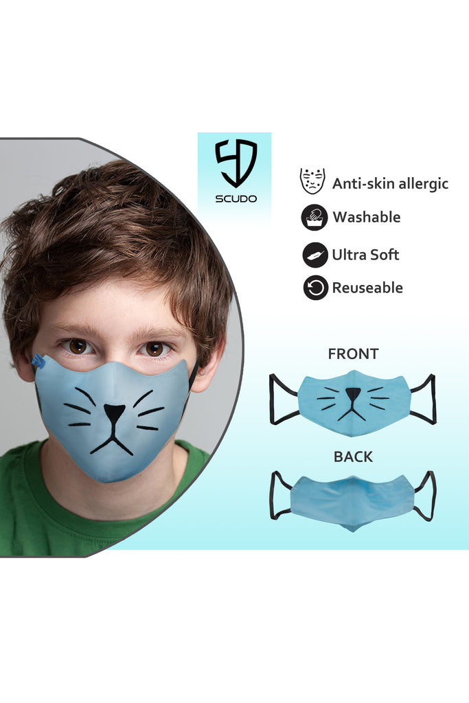 3 PCS OF DOUBLE LAYER KITTY FACE MASK FOR KID'S