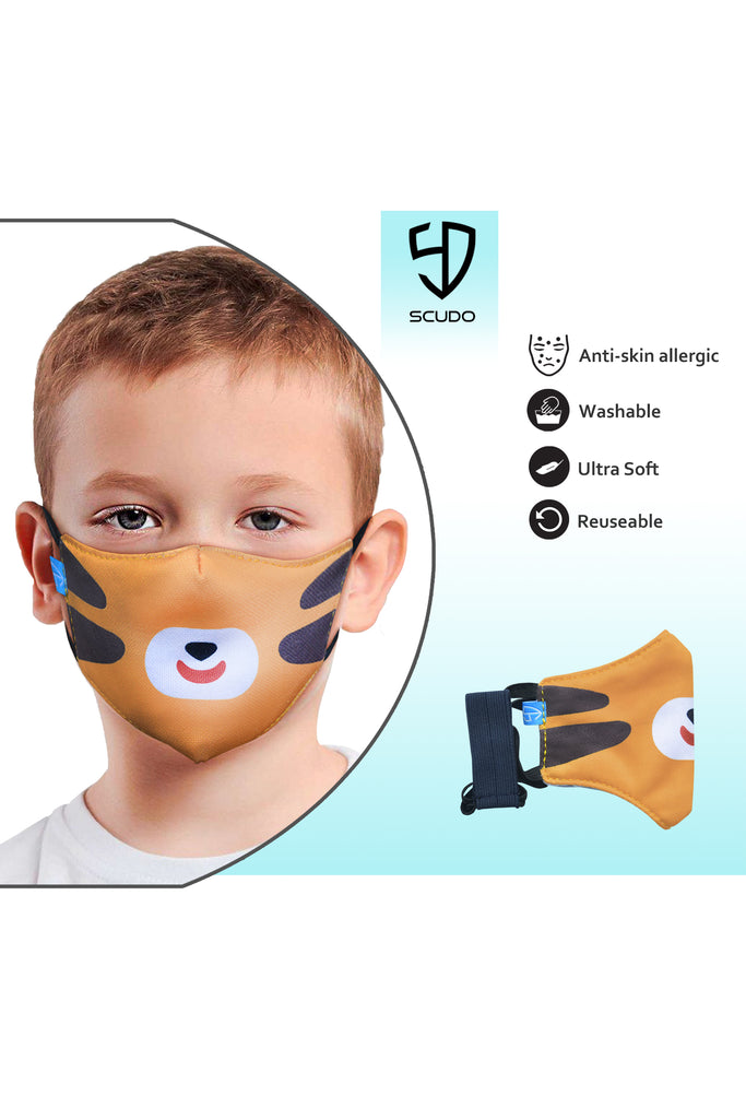 6 PCS OF DOUBLE LAYER TIGER FACE MASK FOR KID'S (5 PCS + 1 FREE)