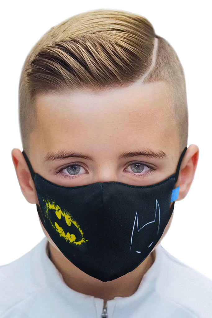 3 PCS OF DOUBLE LAYER BATMAN 2 IN 1 FACE MASK FOR KID'S