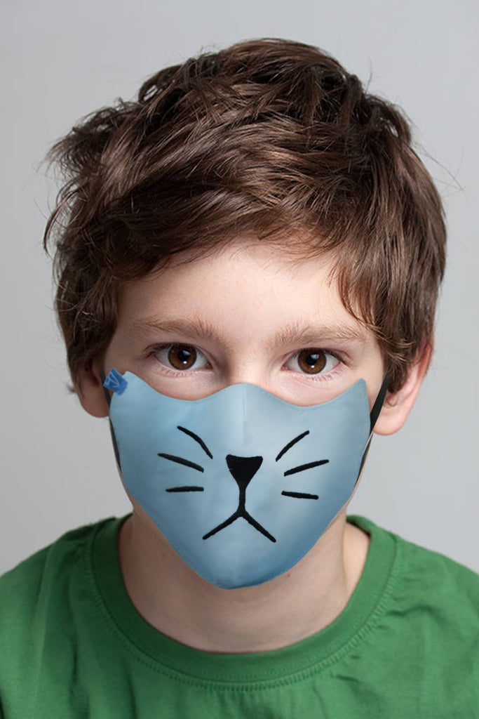 1 PCS OF DOUBLE LAYER KITTY FACE MASK FOR KID'S