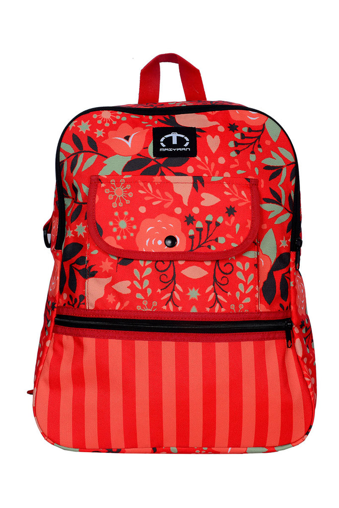 GIRLS RED FLOWERS BACKPACK