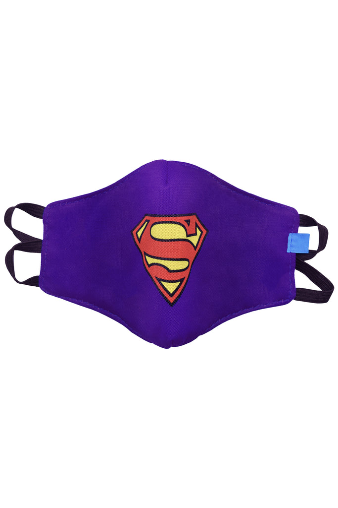 1 PCS OF DOUBLE LAYER SUPERMAN 2 IN 1 FACE MASK FOR KID'S