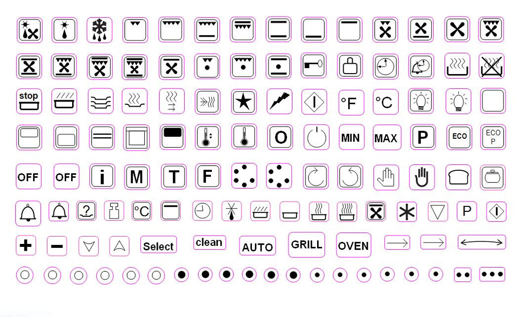 119 ASSORTED OVEN SYMBOLS FOR STOVES, OVENS AND RANGES