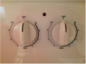 5 RING COOKER TOP MARKINGS AND 4 DIALS FOR AN AMERICAN RANGE