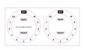 American style cooker top sticker decals. Consisting of 2 dials with OFF at the top and LO 1-2-3-4-5-6-7-8-HI in an anti clockwise direction