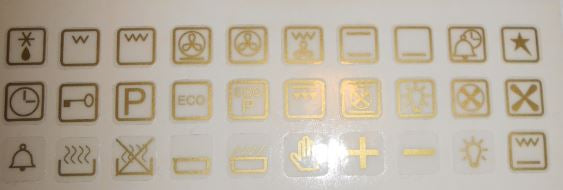 GOLD OR WHITE 30 ASSORTED OVEN SYMBOLS FOR STOVES, OVENS AND RANGES