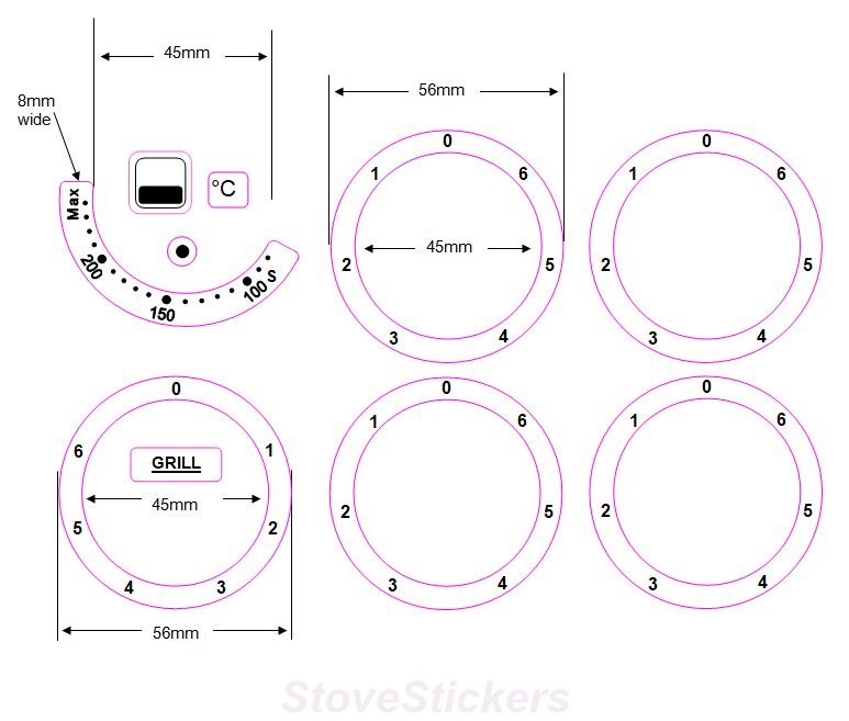 BUNDLE STICKER SET - 4 HOB/COOKER TOP RINGS (45MM INNER DIAMETER) +GRILL RING + 100-200 TEMP DIAL