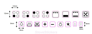 4 RING HOB COOKER TOP STICKERS WITH 14 SYMBOLS
