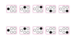 SMALL 5 RING WITH DOT SYMBOL TO THE SIDE COOKER TOP HOB MARKINGS IN BLACK X 2 SETS