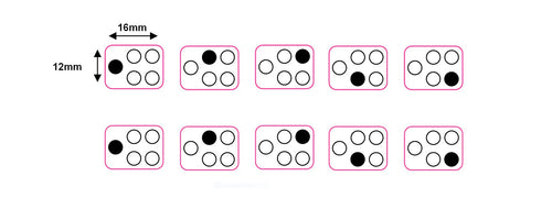 SMALL 5 RING WITH DOT SYMBOL TO THE SIDE - COOKER/STOVE TOP HOB MARKINGS X 2 SETS