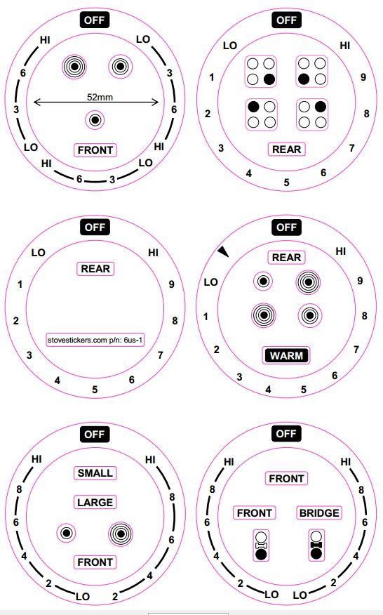 AMERICAN COOKER SET OF 6 DIALS + 4 RING COOKER TOP STICKER MARKINGS
