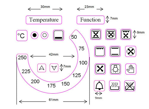 TEMPERATURE DIAL 50-250 WITH 18 OVEN SYMBOLS +