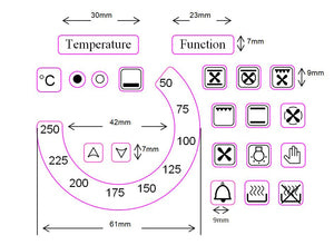 "TEMPERATURE DIAL 50-250 WITH 18 OVEN SYMBOLS + ""TEMPERATURE"" AND ""FUNCTION"" STICKERS"