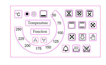 "Load image into Gallery viewer, TEMPERATURE DIAL 50-250 WITH 18 OVEN SYMBOLS + ""TEMPERATURE"" AND ""FUNCTION"" STICKERS"