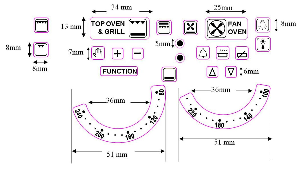 DUAL OVEN TEMPERATURE DIAL STICKERS with numbers 80-240 and 100-220 plus 20 OVEN SYMBOLS