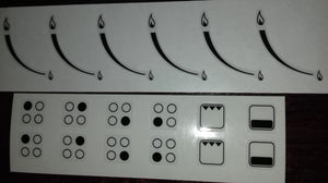 BUNDLE SET - DOUBLE SET OF 4 RING HOB BURNER INDICATOR STICKERS + SET OF 6 GAS FLAME HOB STICKERS