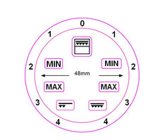 Load image into Gallery viewer, GRILL GRADIENT DIAL 0-4 LEFT AND RIGHT WITH 48MM INNER DIAMETER + 7 SYMBOLS