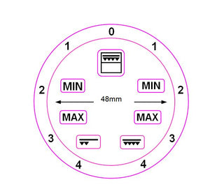 GRILL GRADIENT DIAL 0-4 LEFT AND RIGHT WITH 48MM INNER DIAMETER + 7 SYMBOLS