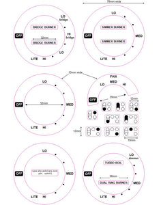 AMERICAN STYLE COOKER TOP DECALS - CONSISTING OF 6 DIALS + 1 SET OF 4 RING AND 1 SET OF 5 RING COOKER TOP MARKINGS