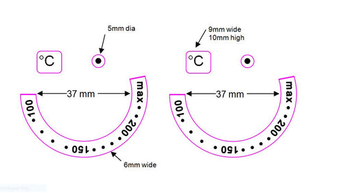 SMALL ANTI CLOCKWISE - PAIR OF OVEN TEMPERATURE DIALS WITH NUMBERS 200-150-100 IN AN ANTI-CLOCKWISE DIRECTION