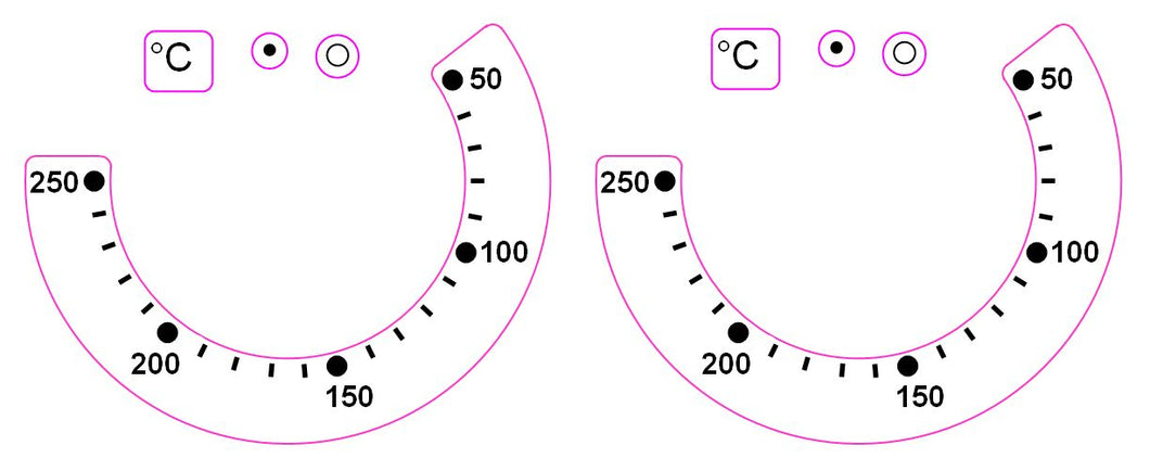 OVEN TEMPERATURE MARKINGS 50-250 (WITH LINES)