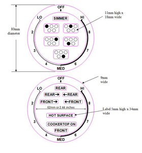 2 DIALS -  LO-MED-HI - anti clockwise FOR AN AMERICAN STYLE COOKER TOP