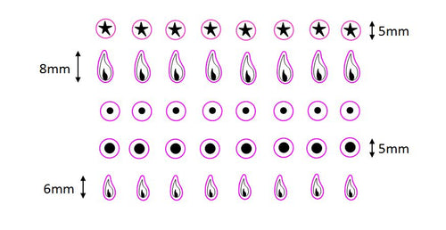SET OF SMALL INDIVIDUAL COOKER TOP/HOB GAS FLAME STICKERS WITH ASSOCIATED STICKER SYMBOLS