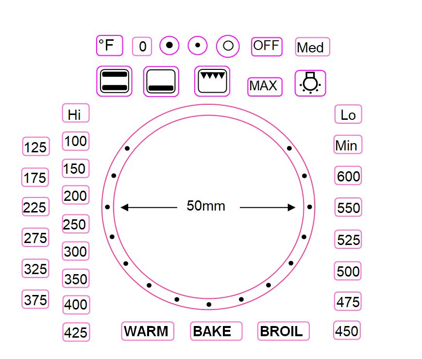 FAHRENHEIT SEPARATE OVEN TEMPERATURE NUMBERS