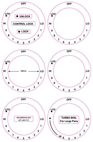 AMERICAN STYLE COOKER TOP DECALS - CONSISTING OF 6 DIALS MARKED LO THRU HI IN A CLOCKWISE DIRECTION